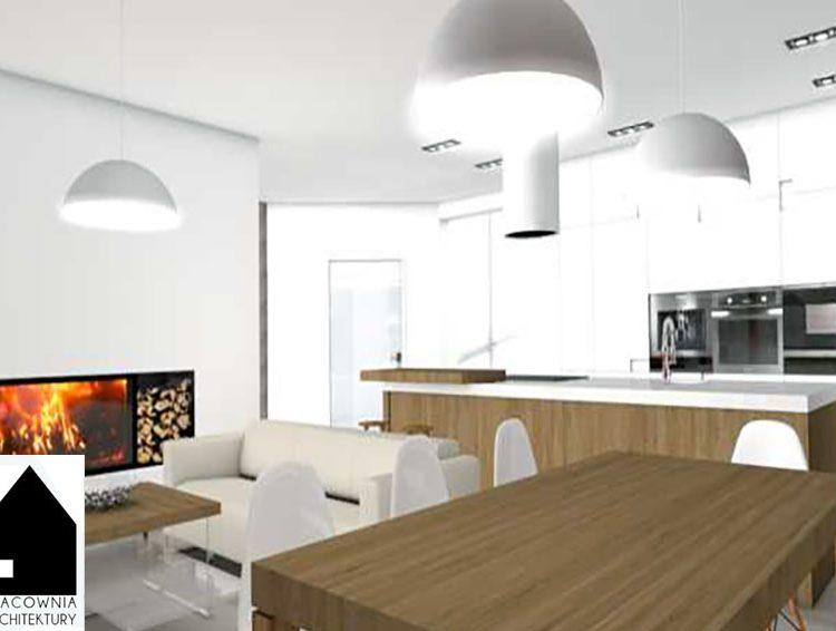 Projekt wnętrz w domu jednorodzinnym salon, kuchnia, sypialnia, łazienki -  Rybnik Kamień