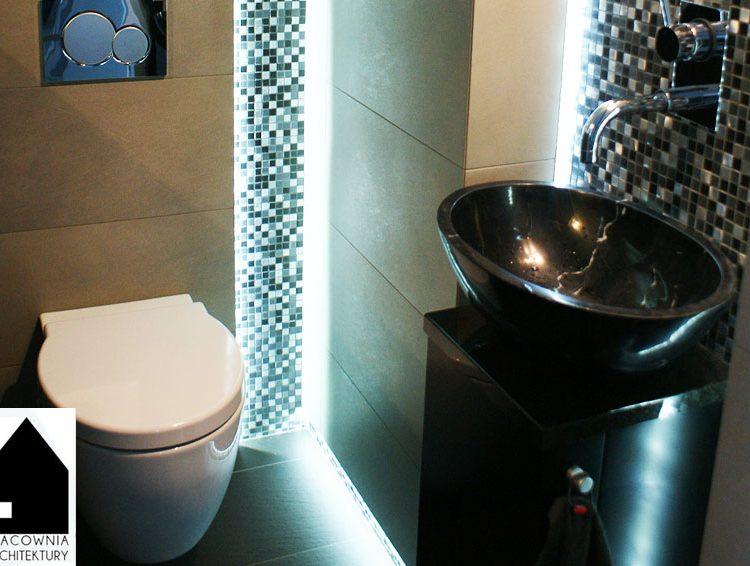Osiedle Wrzosy Rybnik - projekt łazienki pod schodami