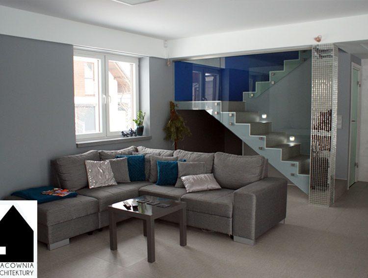 Projekt kuchni, salonu, klatki schodowej - osiedle Wrzosy Rybnik